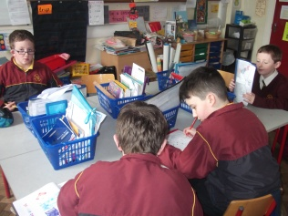 Hard at work on vocabulary sheets.